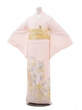 色留袖695桂由美 ピンク地バラに蘭