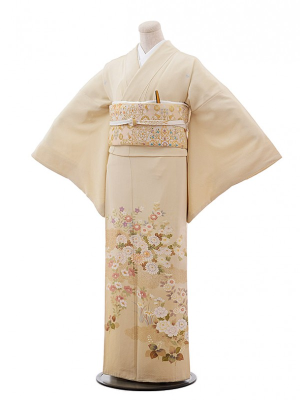 色留袖レンタル671薄ベージュ地菊
