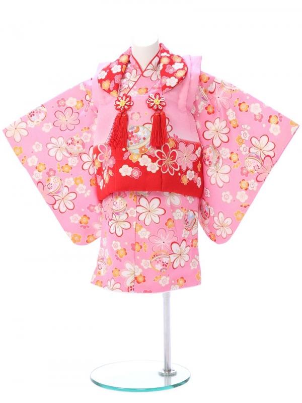 ベビー着物(女)1h36 ピンク 鞠と梅