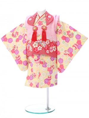 ベビー着物(女)1h38 ピンク/黄色 鞠と桜