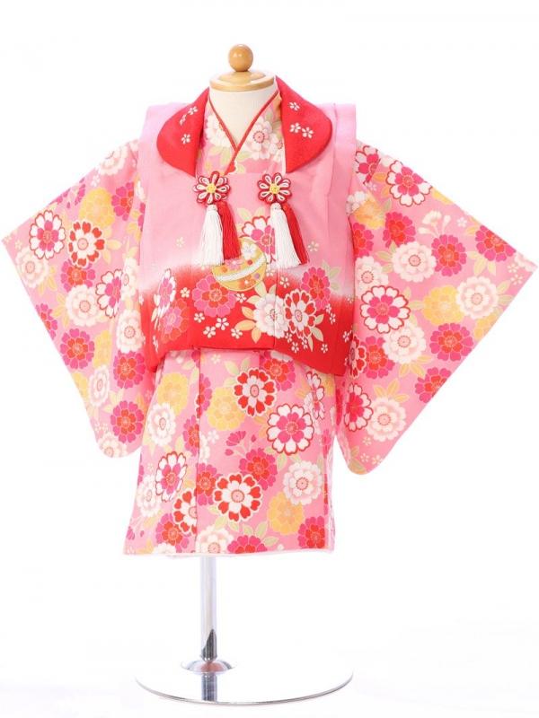 ベビー着物(女)1h30 ピンク×赤/ピンク 桜 菊