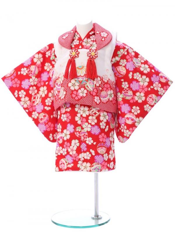 ベビー着物(女)1h37 赤地 鞠と桜