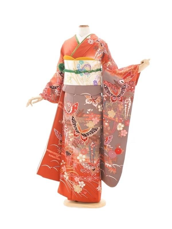 振袖177/オレンジ/古典/成人式等