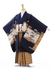 七五三(5歳男袴)G048紺地城に鷹