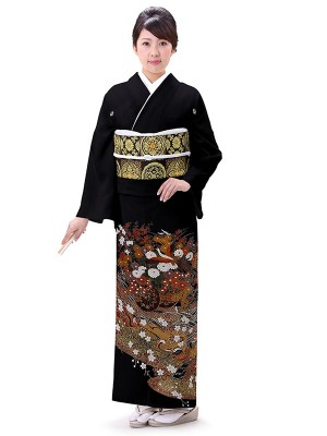 レンタル 黒留袖 フルセット 結婚式等 紋入り 菊 御所車