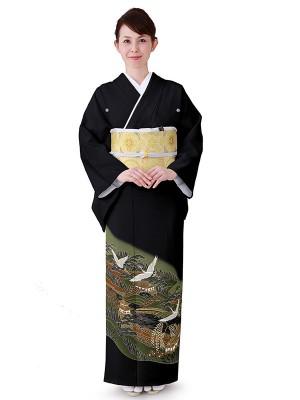 レンタル 黒留袖 フルセット 結婚式等 紋入り 風景画 鶴