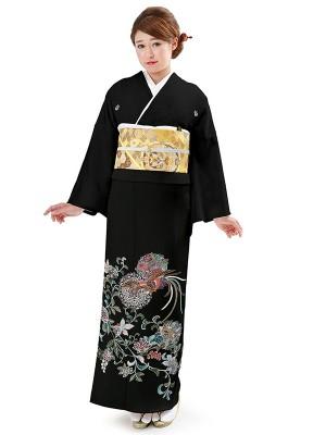 レンタル 黒留袖 フルセット 結婚式等 鳳凰 紋入り
