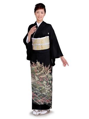 レンタル 黒留袖 フルセット 結婚式等 紋入り 松 梅 鶴