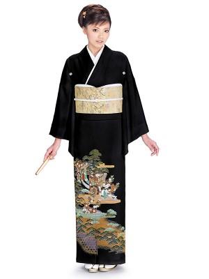 レンタル 黒留袖 フルセット 結婚式等 紋入り 御所車 松 菊