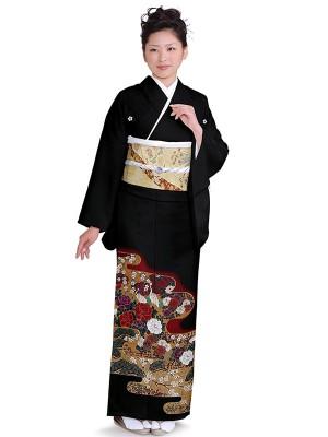 レンタル 黒留袖 フルセット 結婚式等 紋入り 牡丹 梅 鶴