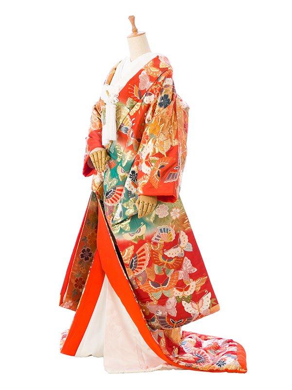 【色打掛】レンタル3327朱赤地 金の蝶