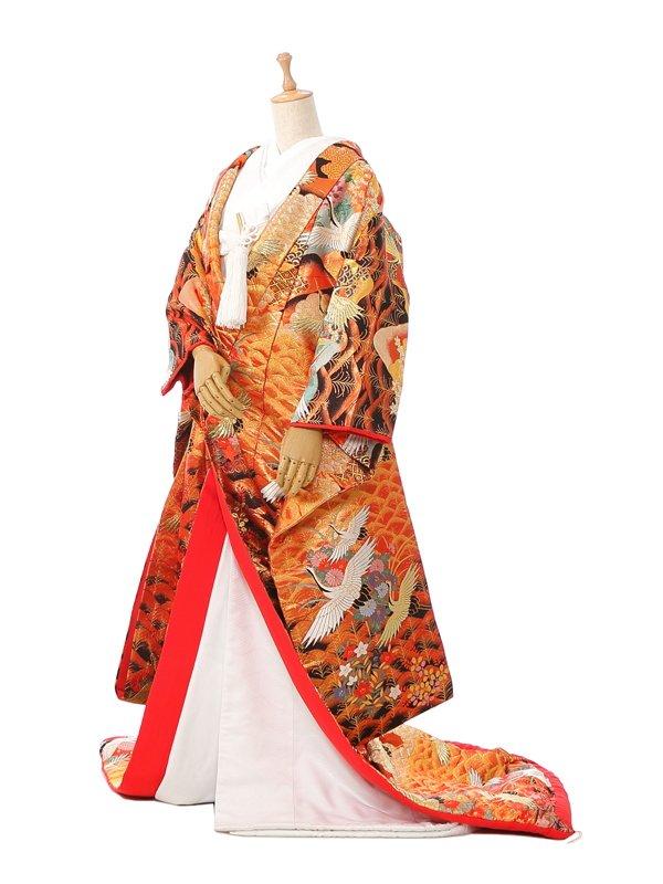 【色打掛】レンタル3282金茶地 金と白鶴