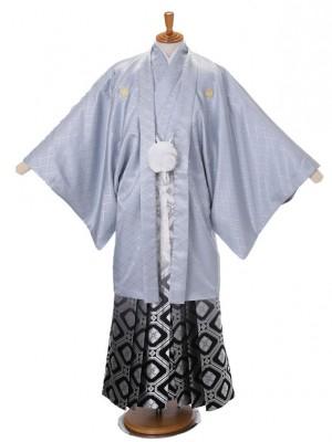 男性用袴ブルーグレー菊菱7/銀亀甲大柄黒335-LL