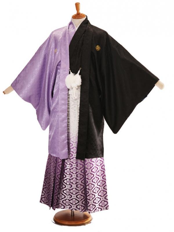 男性用袴黒紫ハーフ6/銀亀甲柄紫336-L