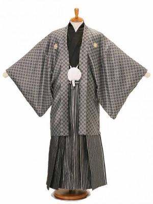 男性用袴黒方眼菱6/黒銀仙台平