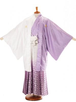 男性用袴白紫ハーフ5/銀亀甲柄紫336-M