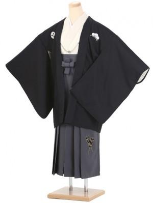 小学生卒業式袴(男の子)A003/黒・グレー/矢羽根