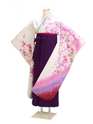 卒業式袴 ピンク 中振袖-F225 紫袴【身長165cm位】