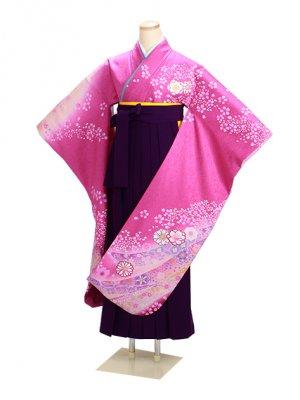 卒業式袴 ピンク 中振袖-F223 紫袴【身長165cm位】