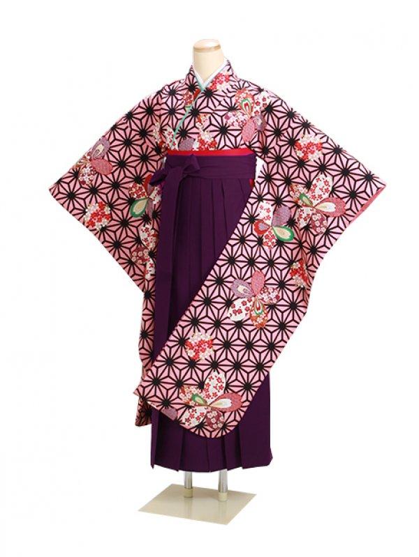卒業式袴 ピンク 中振袖-F302【身長170cm位】