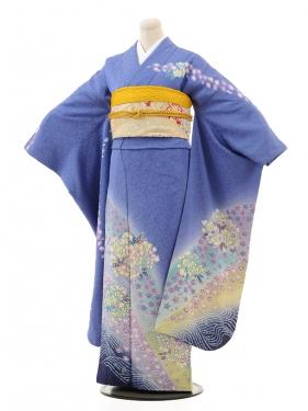 振袖E056 ブルーラメ小花
