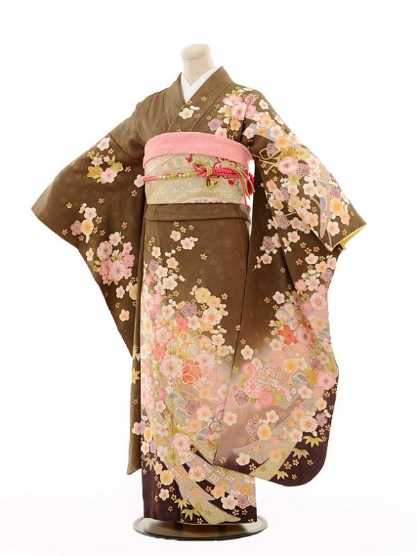 振袖E081 茶色に桜