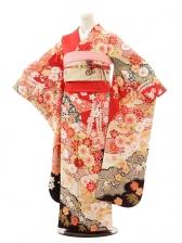 振袖E006 赤黒しぼり花