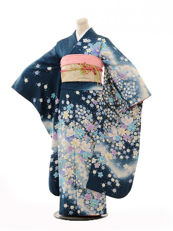 振袖E126 群青色秋桜