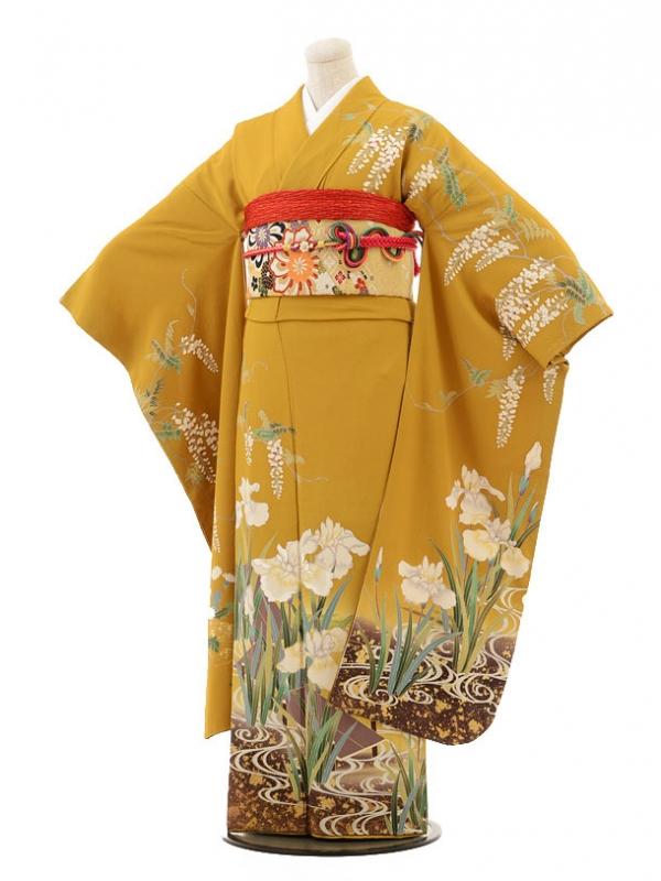 振袖E046 からし色花菖蒲