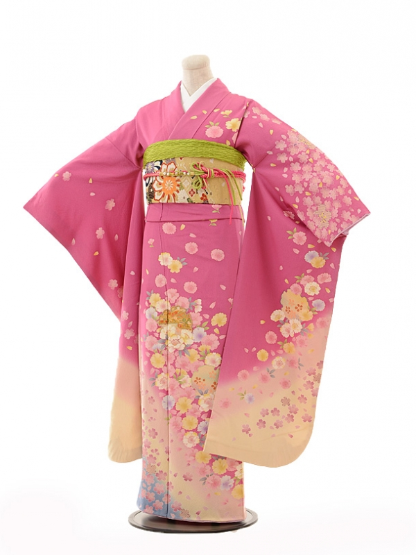 振袖E134 ピンク裾クリーム雪輪花