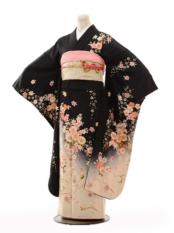 振袖E119 黒裾ベージュぼかし桜