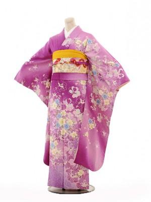 振袖E100 紫ラメ洋花