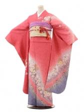 振袖E053 ローズピンク桜ちらし