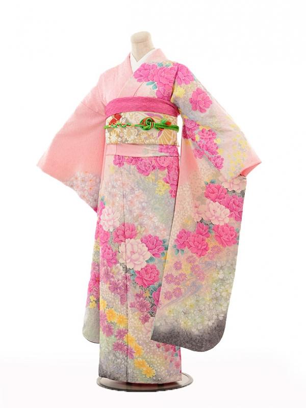 振袖E099 淡ピンク花舞