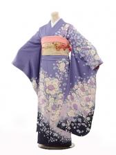 振袖E096 紫地 白小花