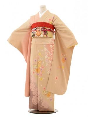 振袖E047 ベージュピンク染め分け桜