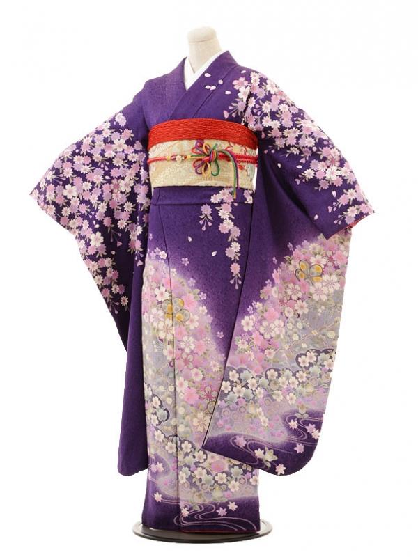 振袖E035 濃紫 しだれ桜