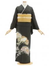 色留袖123モスグリーン雪輪に竹 牡丹(三つ紋)