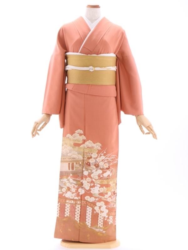 色留袖106オレンジサーモン庭園 梅