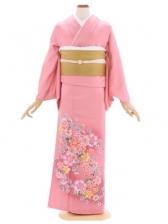 色留袖118ピンクグラデーション花柄(シルック比翼付)