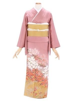 色留袖35薄あずき色裾金箔 桜松小模様