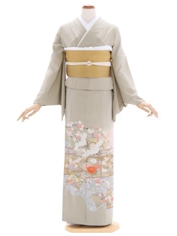色留袖90グリーンベージュ流水 鶴に四季の花