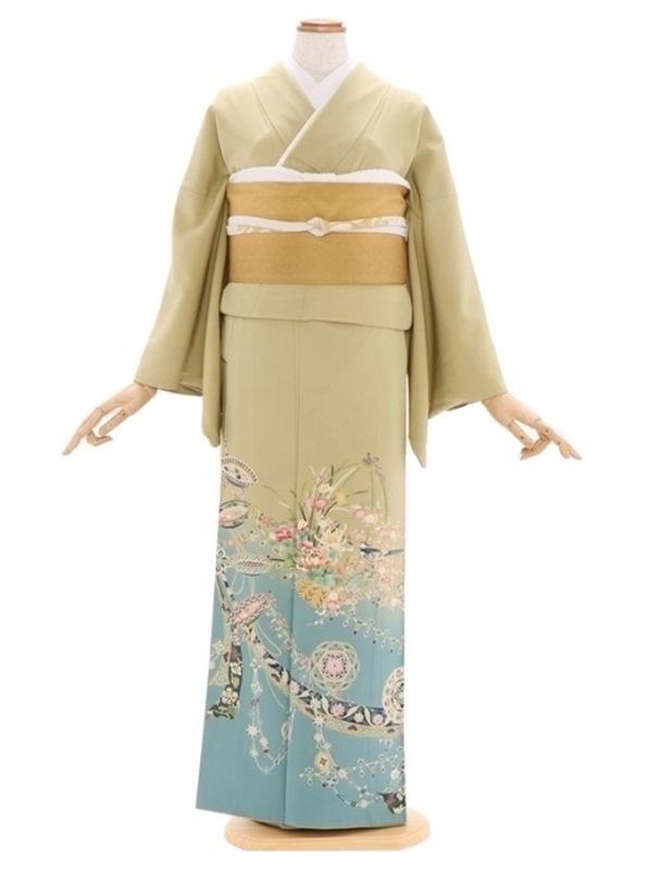 色留袖73柳・空色ぼかし花篭に絵皿