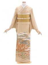 色留袖50ベージュ金箔に松梅 飛翔鶴