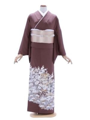 色留袖120ブラウン古典柄色紙に鶴(三つ紋)
