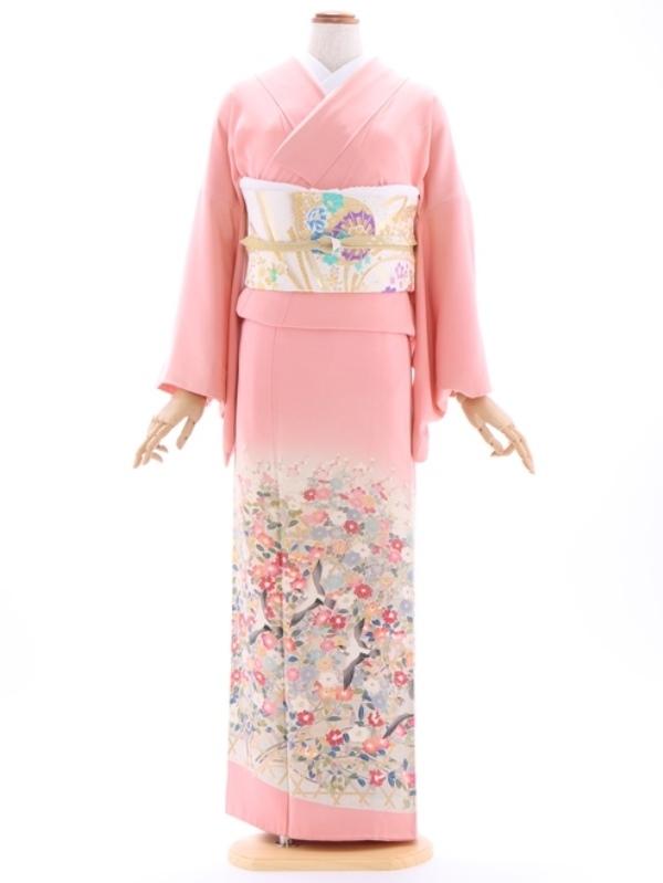 色留袖17ピンク梅園椿すずめ