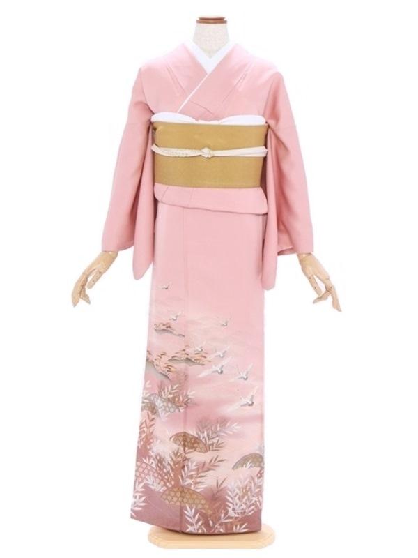 色留袖30ピンク光悦垣波 小松に鶴
