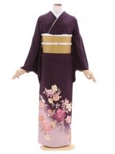 色留袖110古代紫 ぼかし花柄