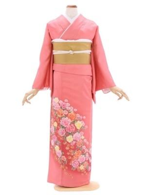 色留袖117サーモンピンク薔薇花柄(シルック比翼付)