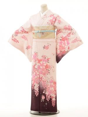 訪問着e102薄ピンクしだれ桜